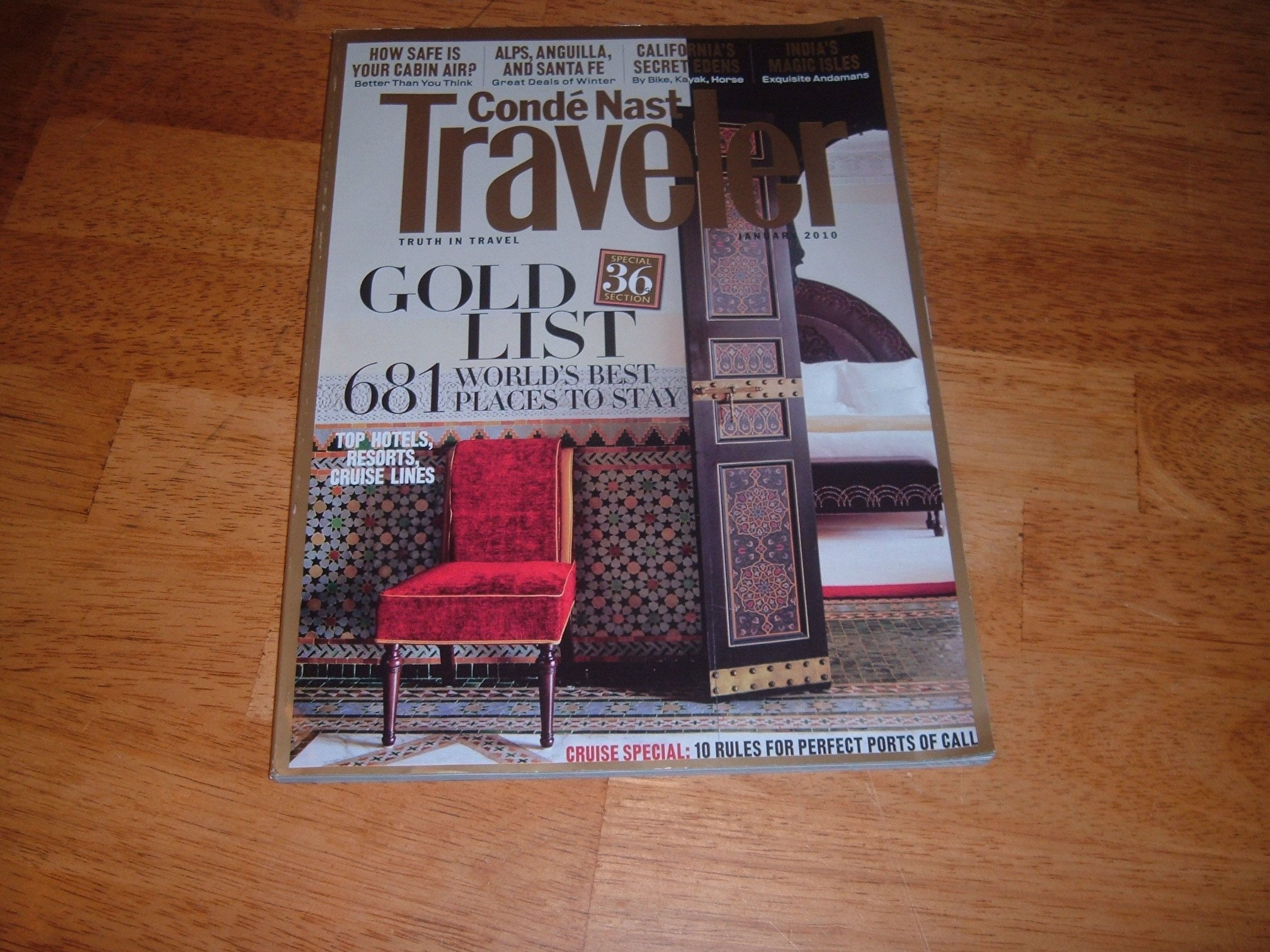 Conde Nast Traveler magazine, January 2010-Gold List & 681 World's Best Places to Stay ebook