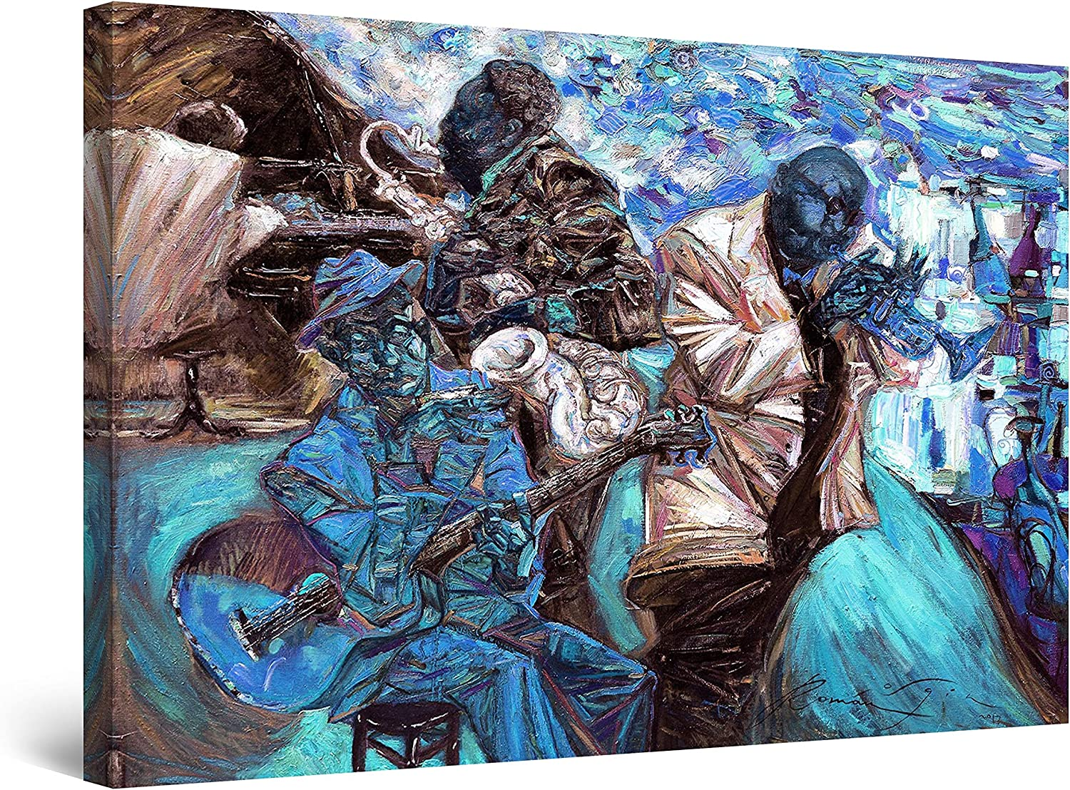 "Startonight Canvas Wall Art Abstract - Blue Jazz Orchestra Music Painting - Large Artwork Print for Living Room 32"" x 48"""
