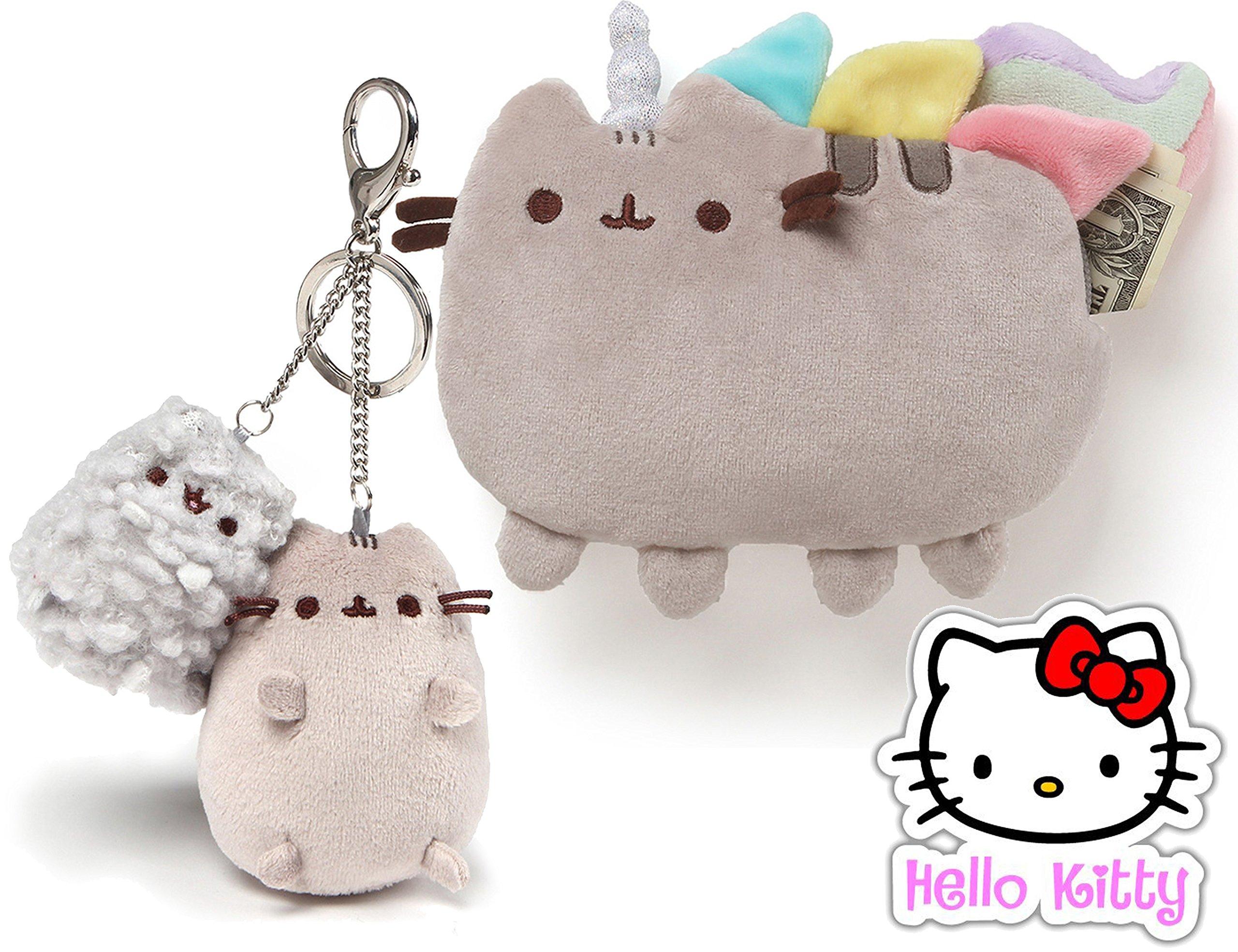Gund Pusheen the Cat Pusheenicorn Coin 7'' Purse and Mini Pusheen / Stormy 4.5'' Keychain Clip Set of 2 Plush Toys with Hello Kitty Sticker by Pusheen