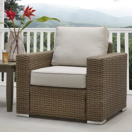 INSPIRE Q Barbados Wicker Outdoor Cushioned Brown Mocha Occasional Chair  With Square Arm Oasis Mocha