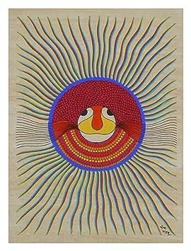 Pitorah Paintings Handmade Paper Sun God Painting (38 cm x 0.1 cm x 28 cm)
