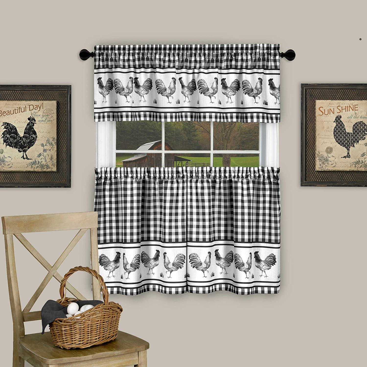 "Sweet Home Collection Barnyard Rooster Design 3 Piece Kitchen Curtain Set with Tier Pair and Valance 36"" Black"