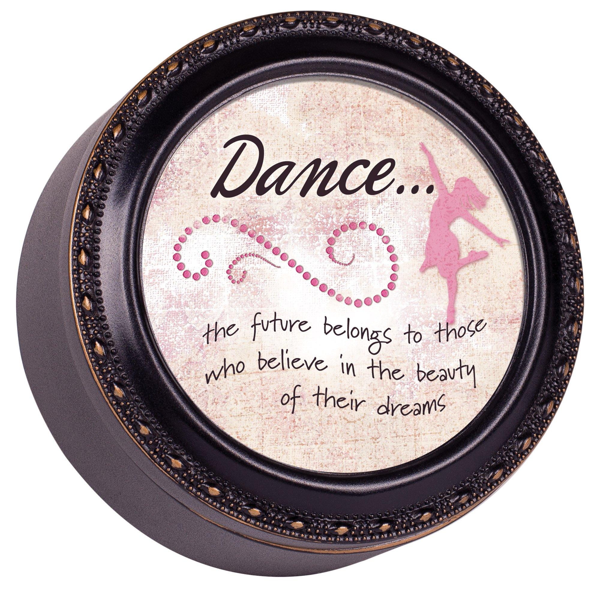 Cottage Garden Dance Distressed Black Tiny Round Treasure Box