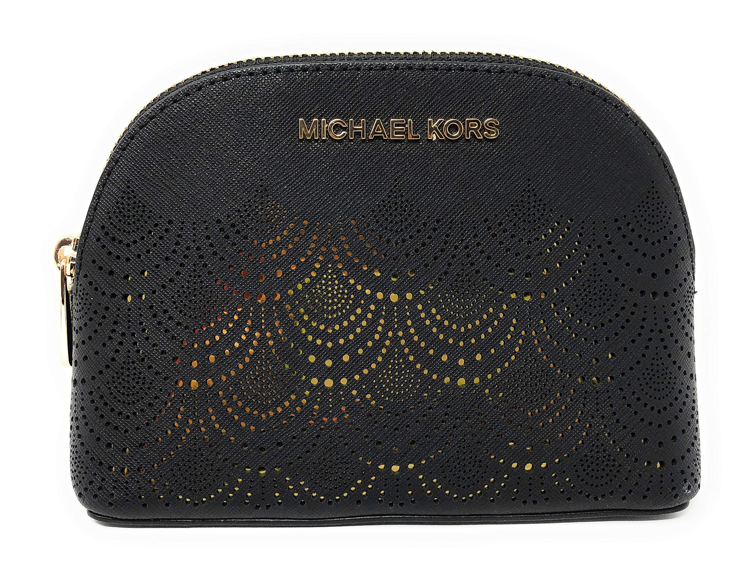 Michael Kors Jet Set Travel Saffiano Leather Lace Cosmetic Travel Pouch in Black