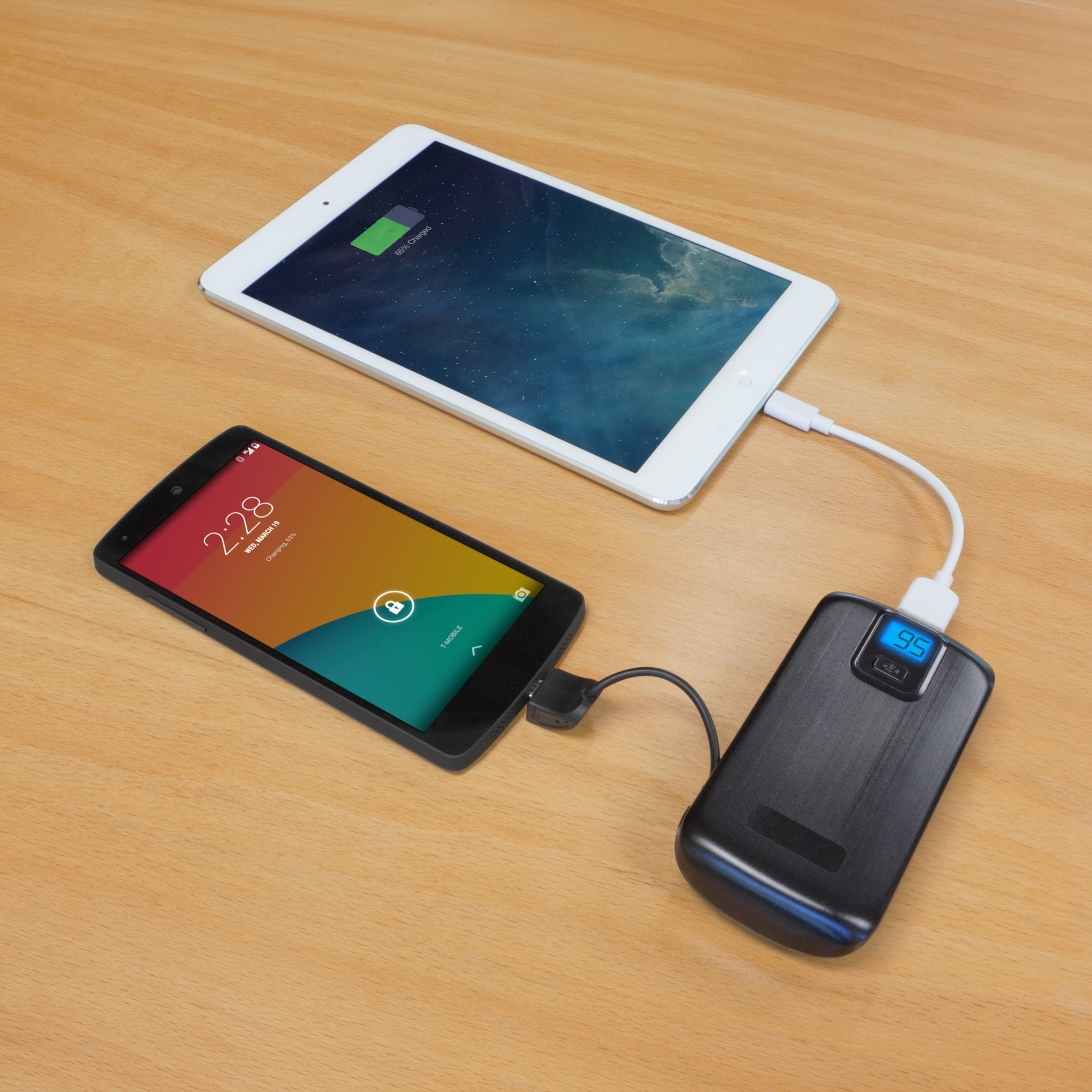 BoxWave Rejuva Power Pack Pro Power Bank - Compact, Portable 4,400 mAh Rechargeable Li-ion Battery Charger and Power Bank - Compatible with Apple iPhone 5, iPhone 6, iPad 3, iPad 4, iPad Air, Samsung Galaxy S4, Galaxy S5, OnePlus One, and many more! (Blac by BoxWave (Image #5)