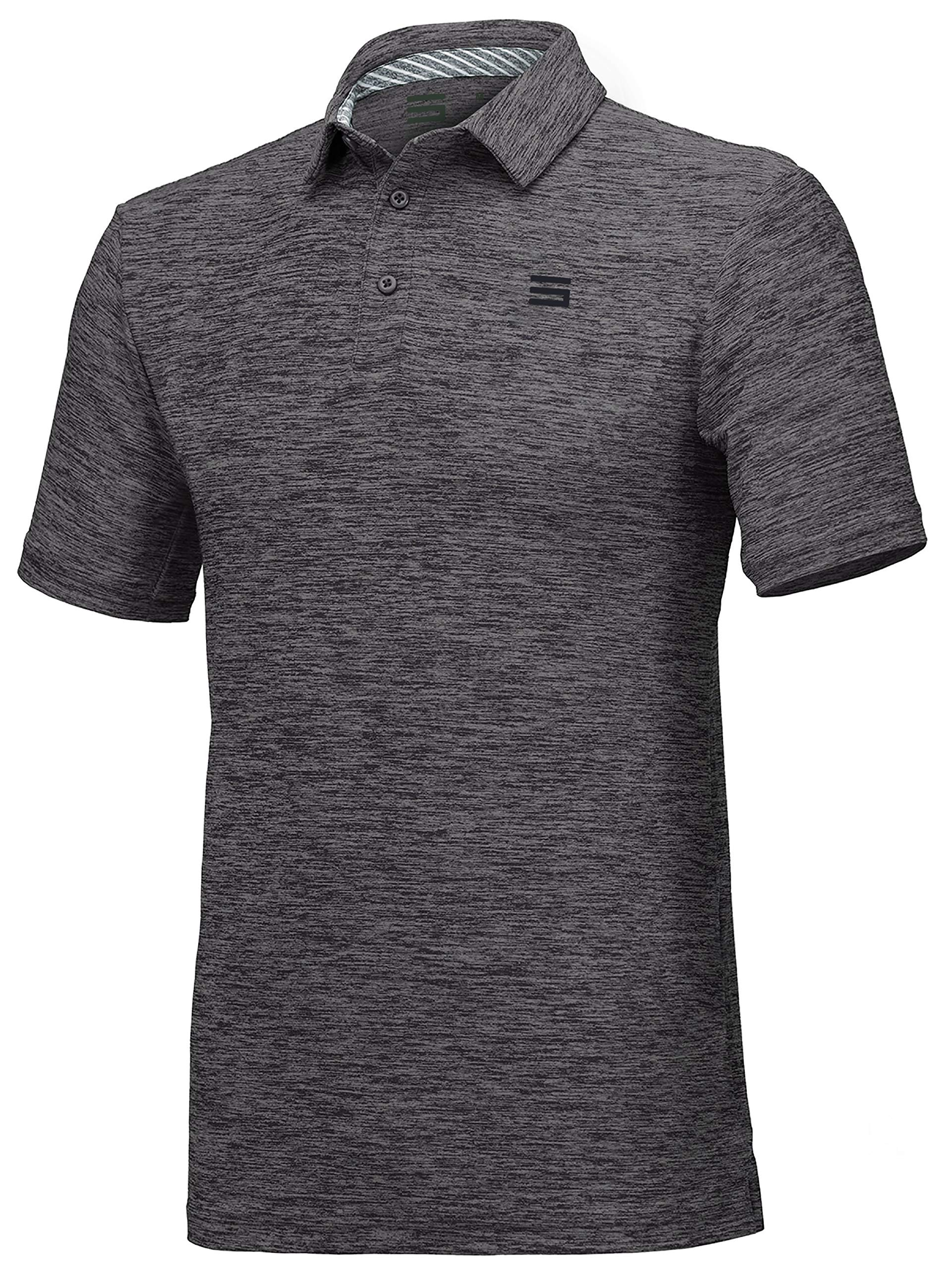 Three Sixty Six Golf Shirts for Men - Dry Fit Short-Sleeve Polo, Athletic Casual Collared T-Shirt Black by Three Sixty Six