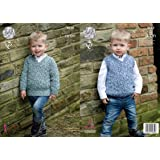 4171d4f813b6fd King Cole 4630 Knitting Pattern Boys Sweater and Slipover in King Cole  Fashion Aran Combo