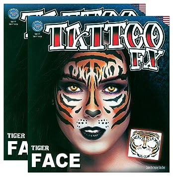 Amazon Com Tribal Tiger Temporary Face Tattoo Kit Set Of 2