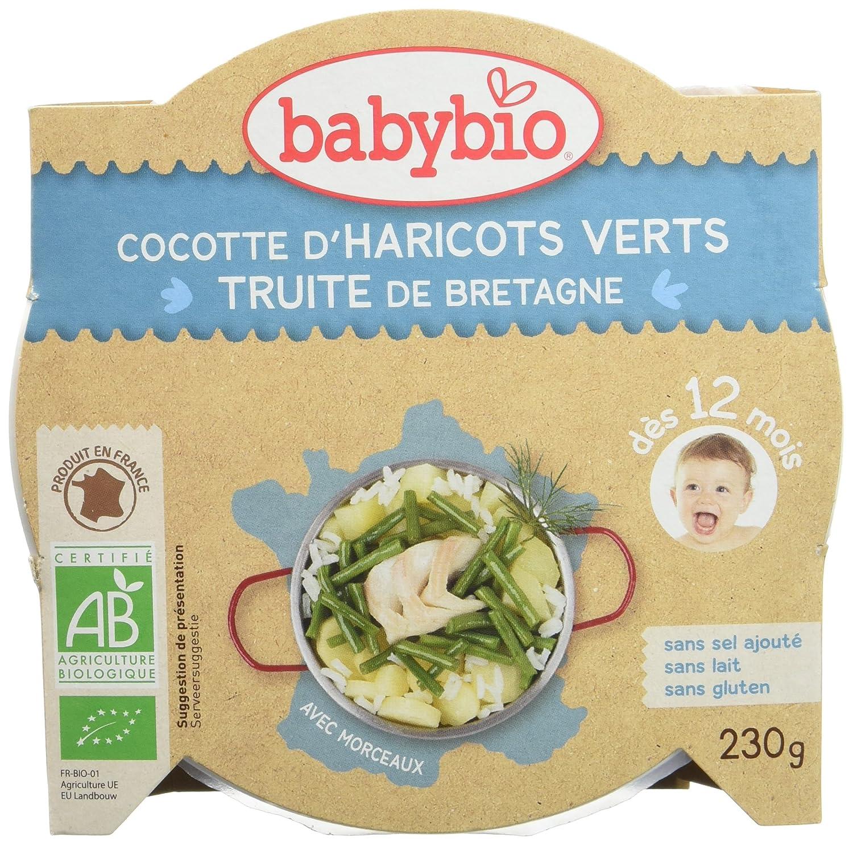 Babybio Assiette Cocotte de Haricots Verts du Val de Loire/Truite 12+ Mois 230 g 50163 alimentation bébé diversification