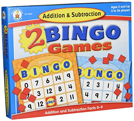 Carson Dellosa Addition and Subtraction Bingo Board Games (140038) Ages 7 and Up