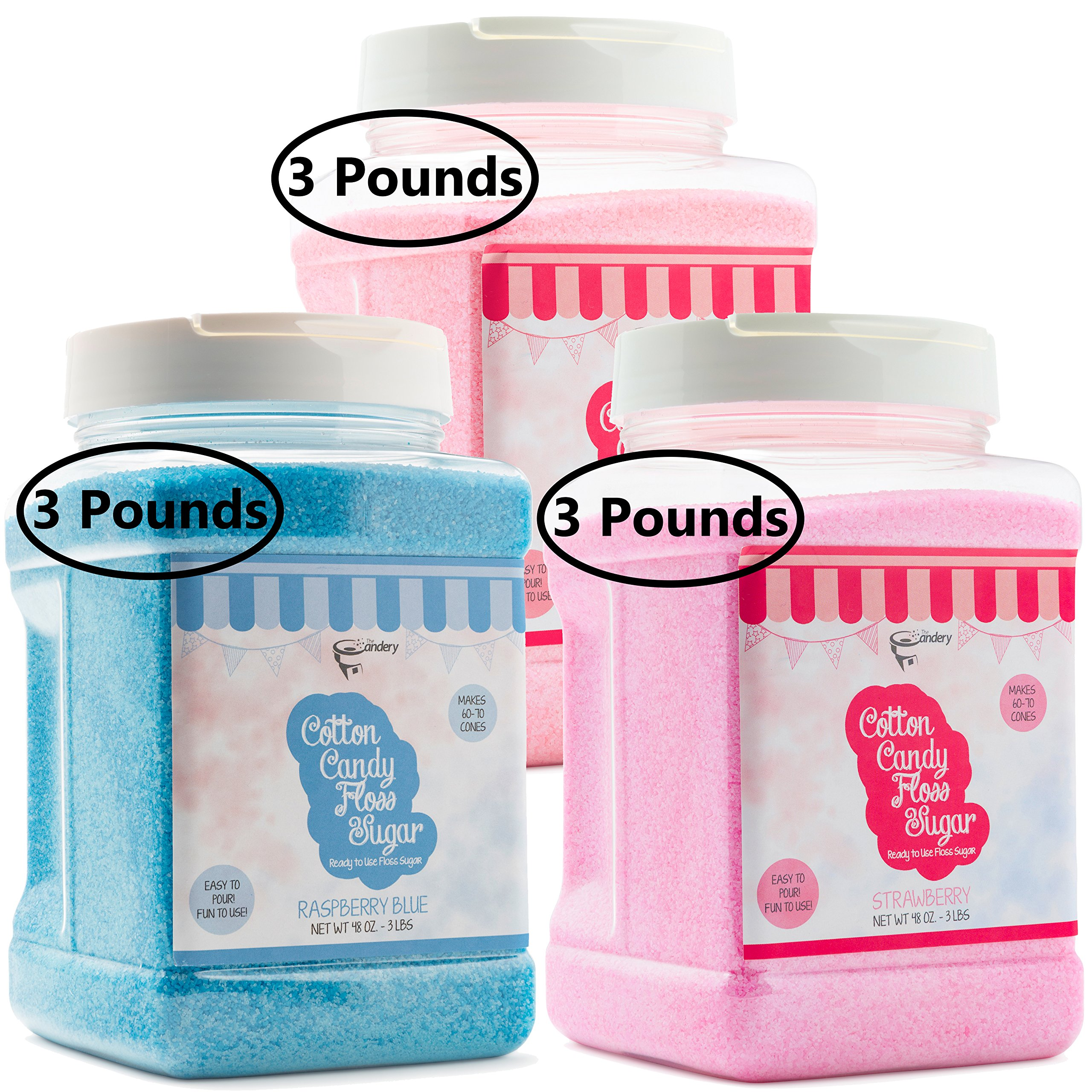 The Candery Cotton Candy Sugar FLoss 3lbs 3 Pack Premium Flavors (Strawberry,Cherry,Raspberry)