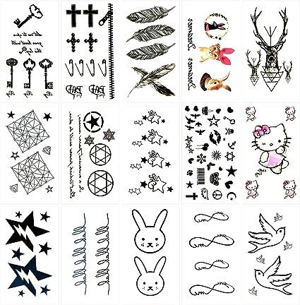 Oottati 15 Hojas Pequeñas Cute Tatuajes Temporales Llave Gato Gato ...