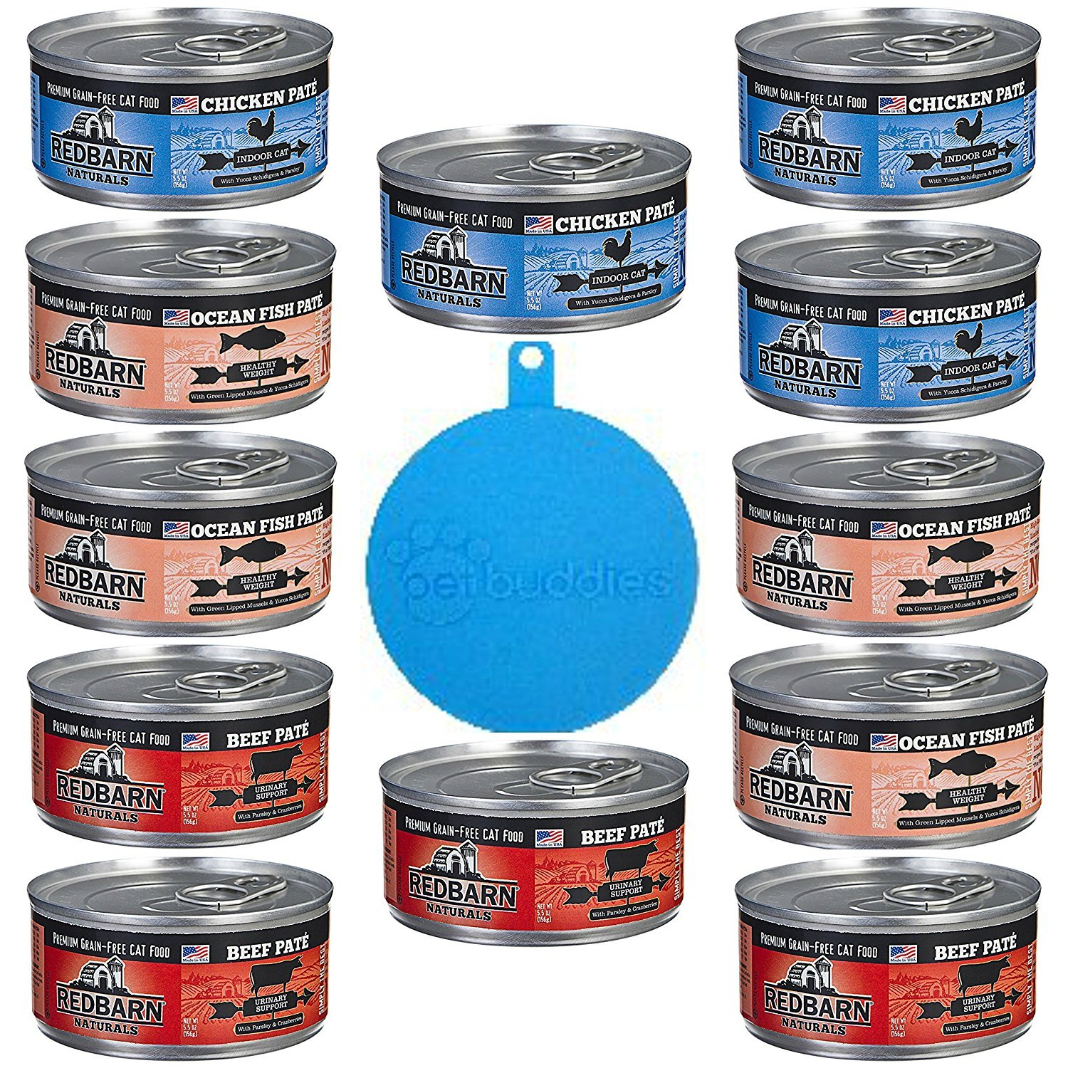 RedBarn Naturals Grain Free Canned Cat Food Pate in 3 Flavors – Beef, Ocean Fish, and Chicken - 12 Cans Total, 5.5 Ounces Each - Plus 1 Pet Buddies Silicone ...