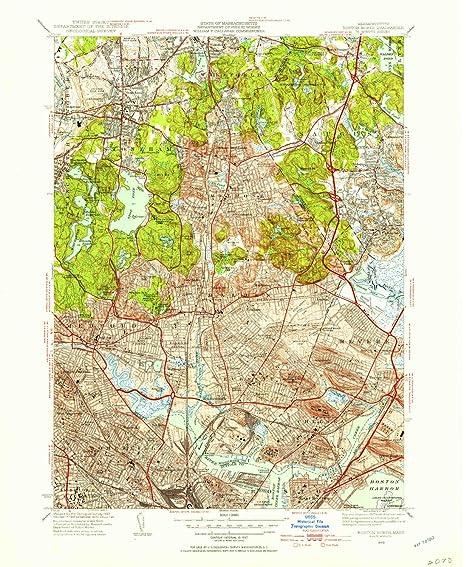 Amazon.com: YellowMaps Boston North MA topo map, 1:31680 Scale, 7.5 ...