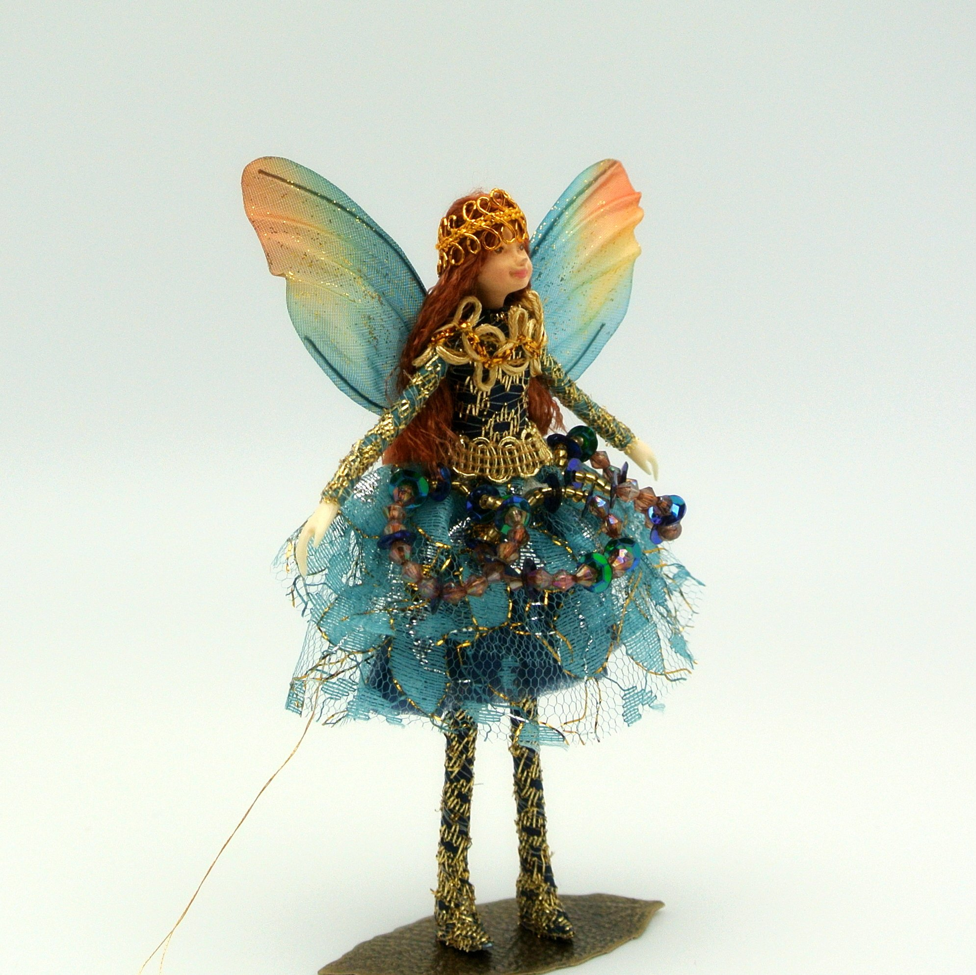 Handmade BLUE JEWEL FAIRY Doll - with Wings, Jewels and Crown