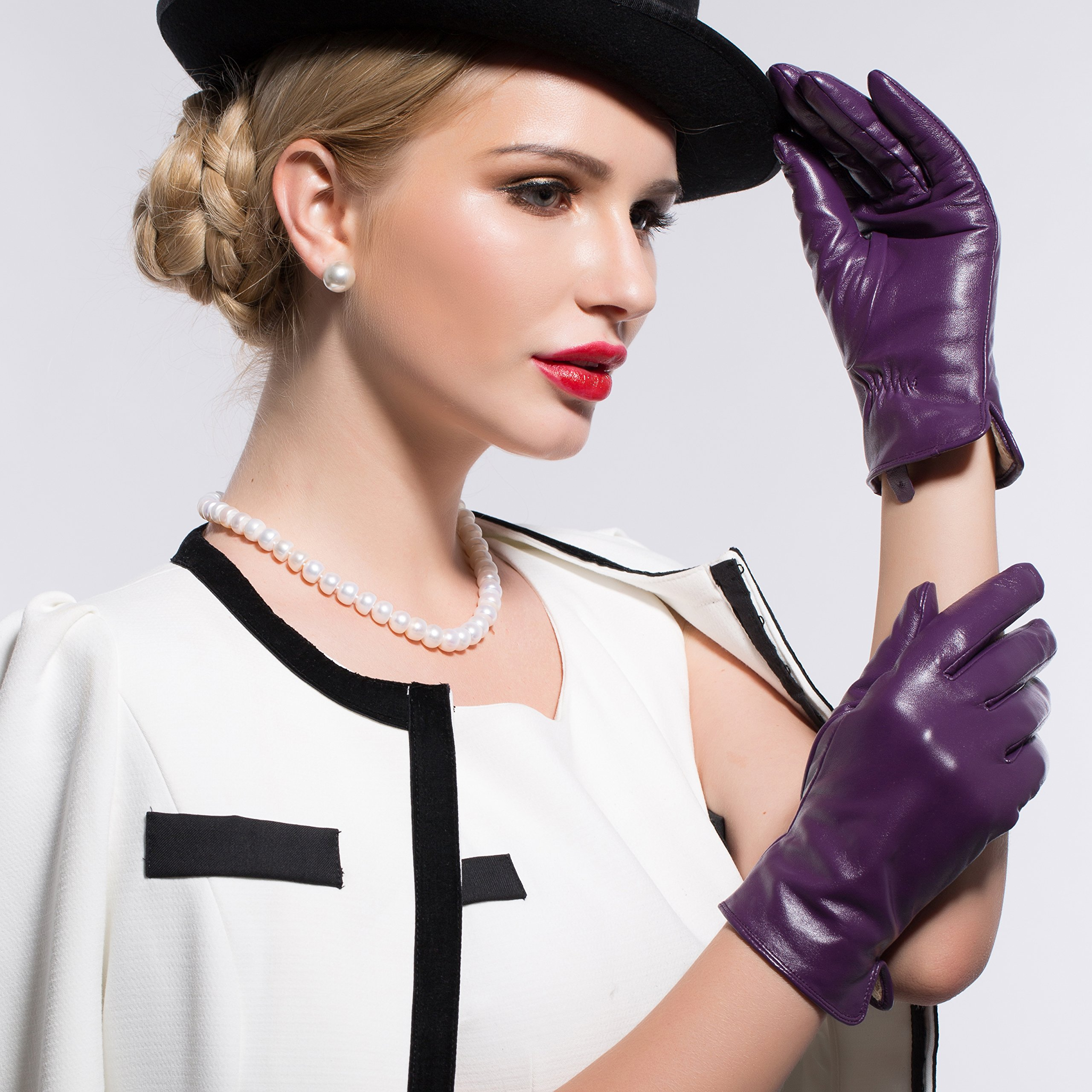 Kursheuel 14 colors Cashmere Women Lady's Genuine lambskin soft leather driving Gloves KU141 (L, Purple) by Kursheuel (Image #3)