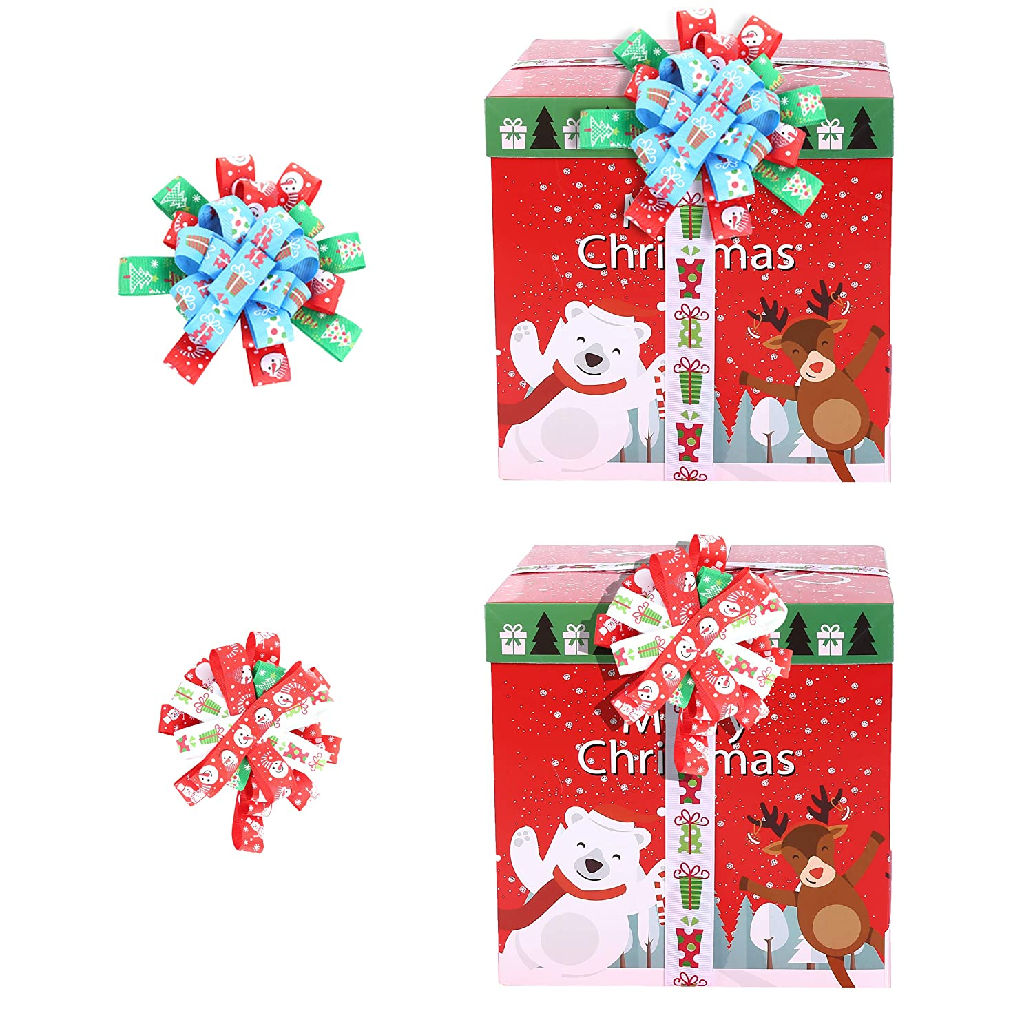 Baby Shower Sewing Hair Bow Clips Christmas Ribbon; 27 Yards 1 Grosgrain Satin Fabric Xmas Ribbons for Crafts Decoration Holiday Box Gift Wrapping 9 Patterns x 3Yds Packed in Roll Wedding