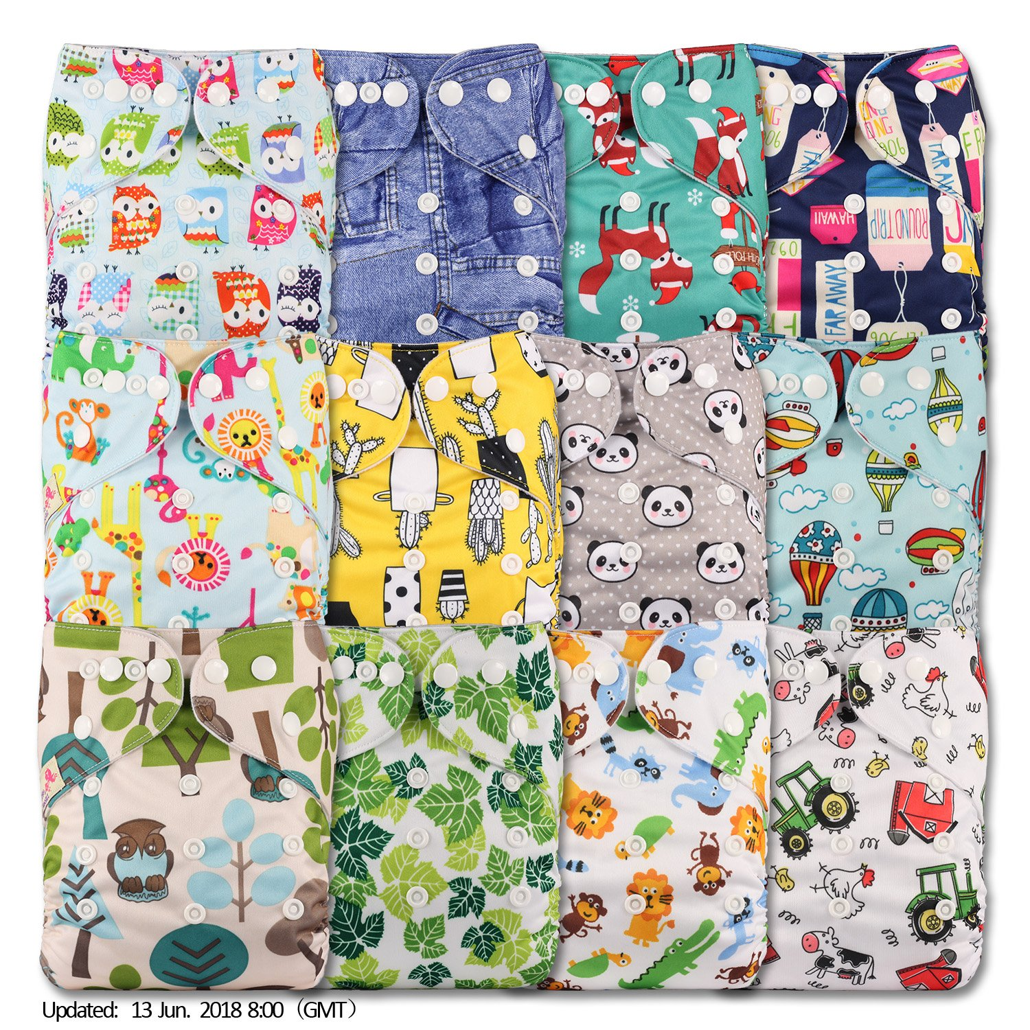 Littles & Bloomz, Reusable Pocket Cloth Nappy, Fastener: Popper, Set of 12, Patterns 1206, Without Insert YellowBloom