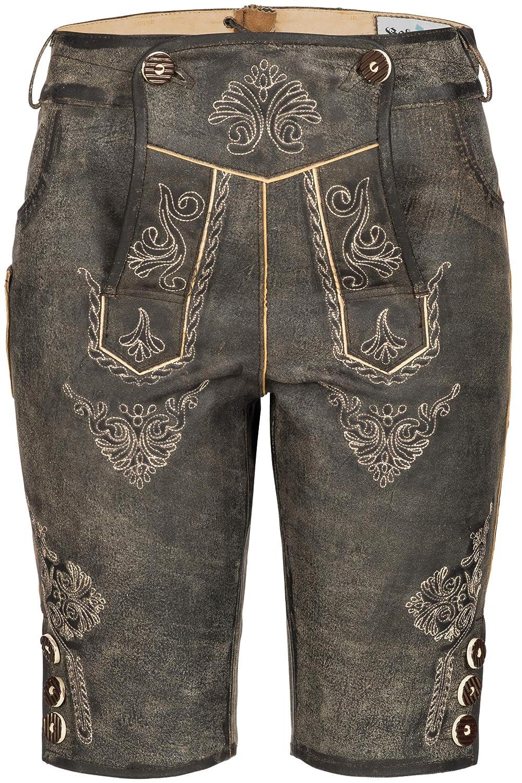 Bohmberg Wertige Damen Trachtenhose Knielang 100% Leder mit Integrierter Smartphone -Tasche/Antik Vintage Optik H3069
