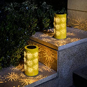 Solpex Solar Hanging Lantern Outdoor, Garden Decor Lantern Sun Patterns LED Solar Lights for Patio, Garden, Lawn, Yard, Tree and Table (Yellow, 2 Pack)