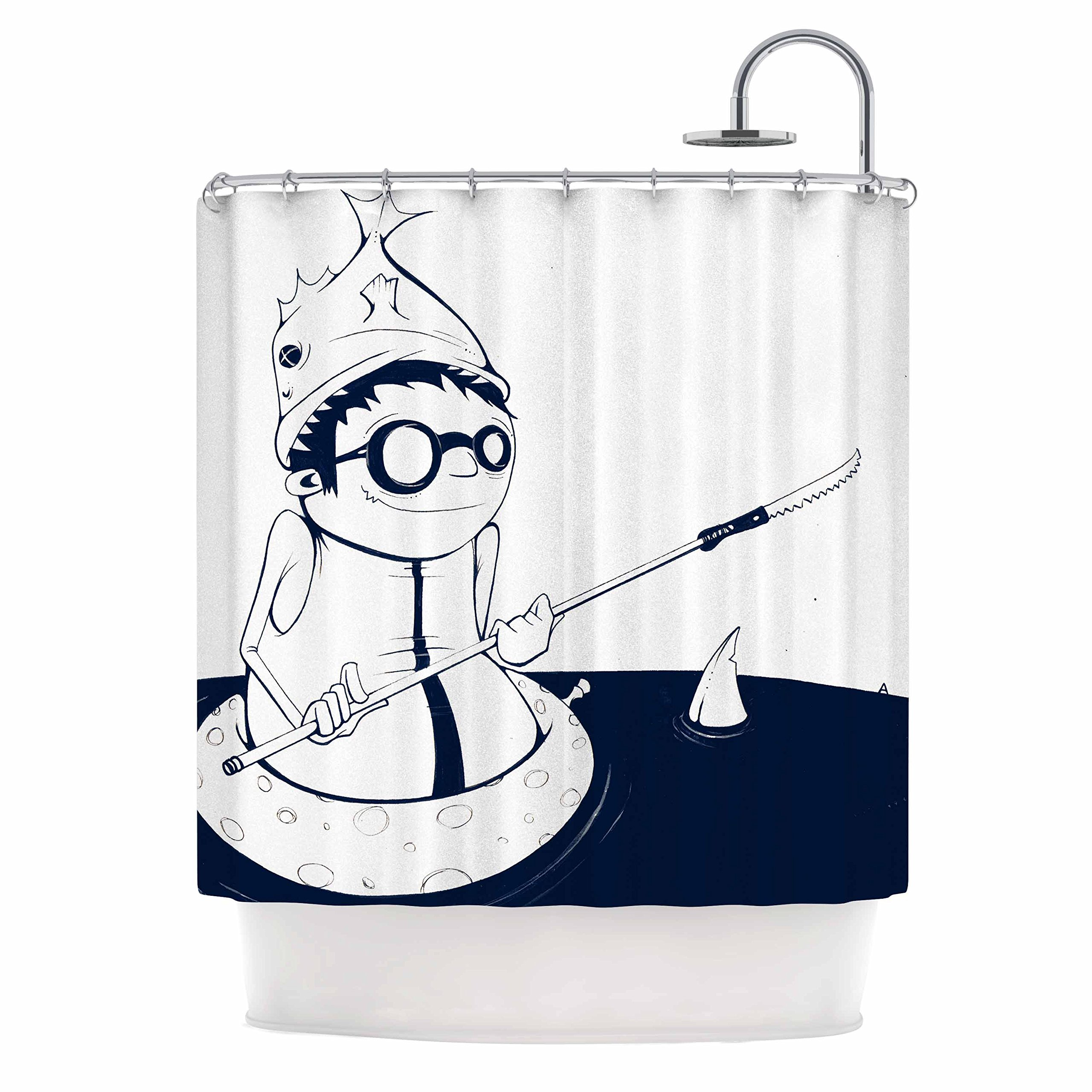 Kess InHouse Matthew Reid 5 in Navy Blue Nautical llustration, 69'' x 70'' Shower Curtain