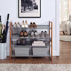 Organize It All Stackable Shoe Rack, Set of 2, 16 Pair Total, Grey/Wood