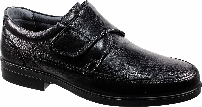 LUISETTI 26854 Negro - Zapato Velcro Piel Profesional Fabricado en España 45 EU|Negro