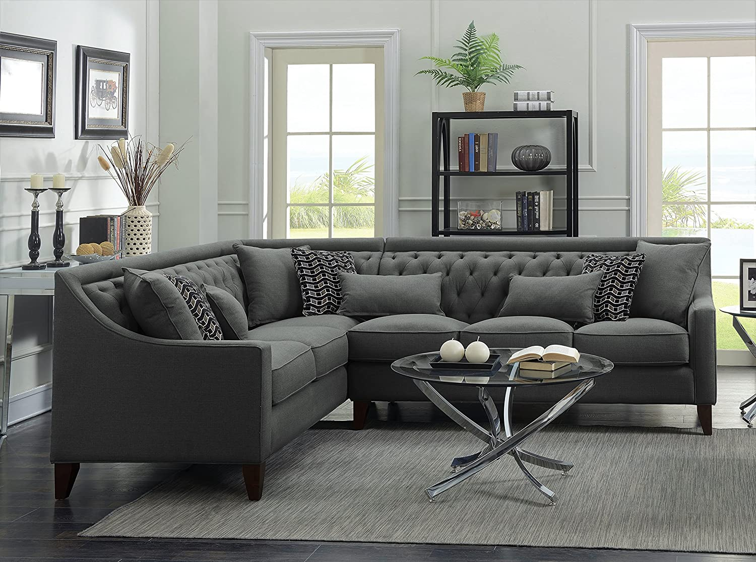 Iconic Home Chic Home Aberdeen Linen Tufted Down Mix Modern Contemporary Left Facing Sectional Sofa Grey Furniture Decor