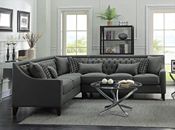 Iconic Home Chic Home Aberdeen Linen Tufted Down Mix Modern Contemporary  Left Facing Sectional Sofa, Grey