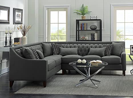 Iconic Home FSA2677-AN Chic Home Aberdeen Linen Tufted Down Mix Modern  Contemporary Left Facing Sectional Sofa, Grey