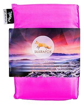 Silkrafox Saco de dormir ultraligero para las excursiones de senderismo, los viajes, las acampadas, seda artificial, fucsia: Amazon.es: Deportes y aire ...