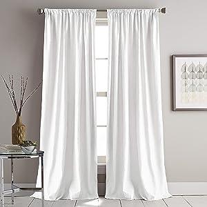 DKNY Urban Melody Faux Suede Room Darkening Window Curtain Single Panel, 63-inch, Ivory