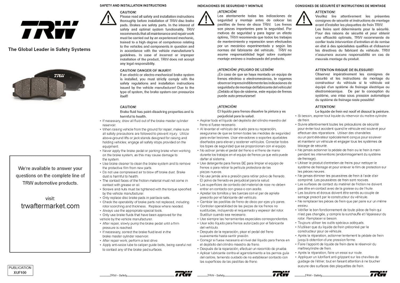 TRW Black TPC0572 Premium Ceramic Disc Brake Pad Set TRW Automotive