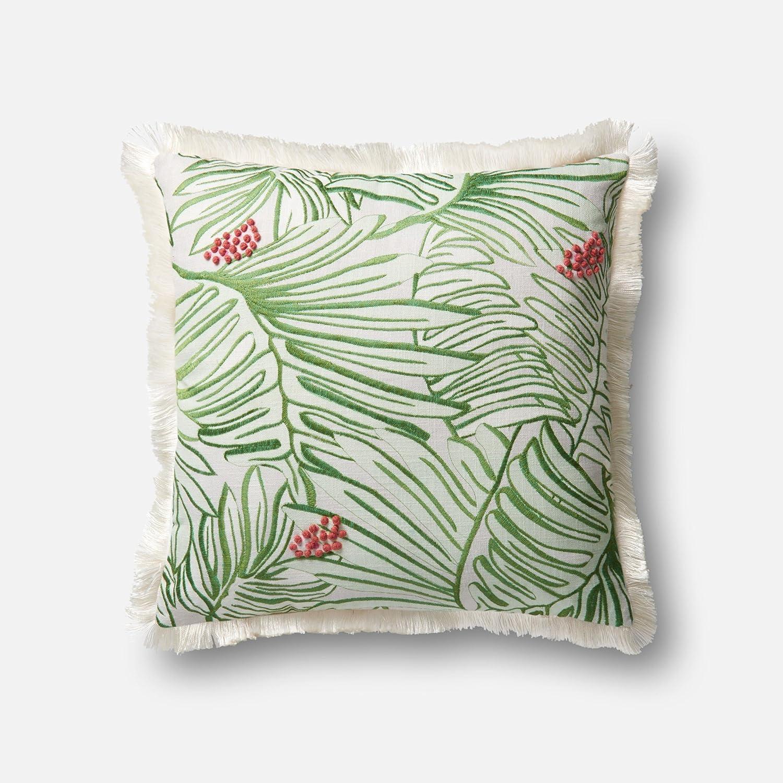 22 x 22 Green//Multi Loloi P0479 100/% Cotton Pillow Cover