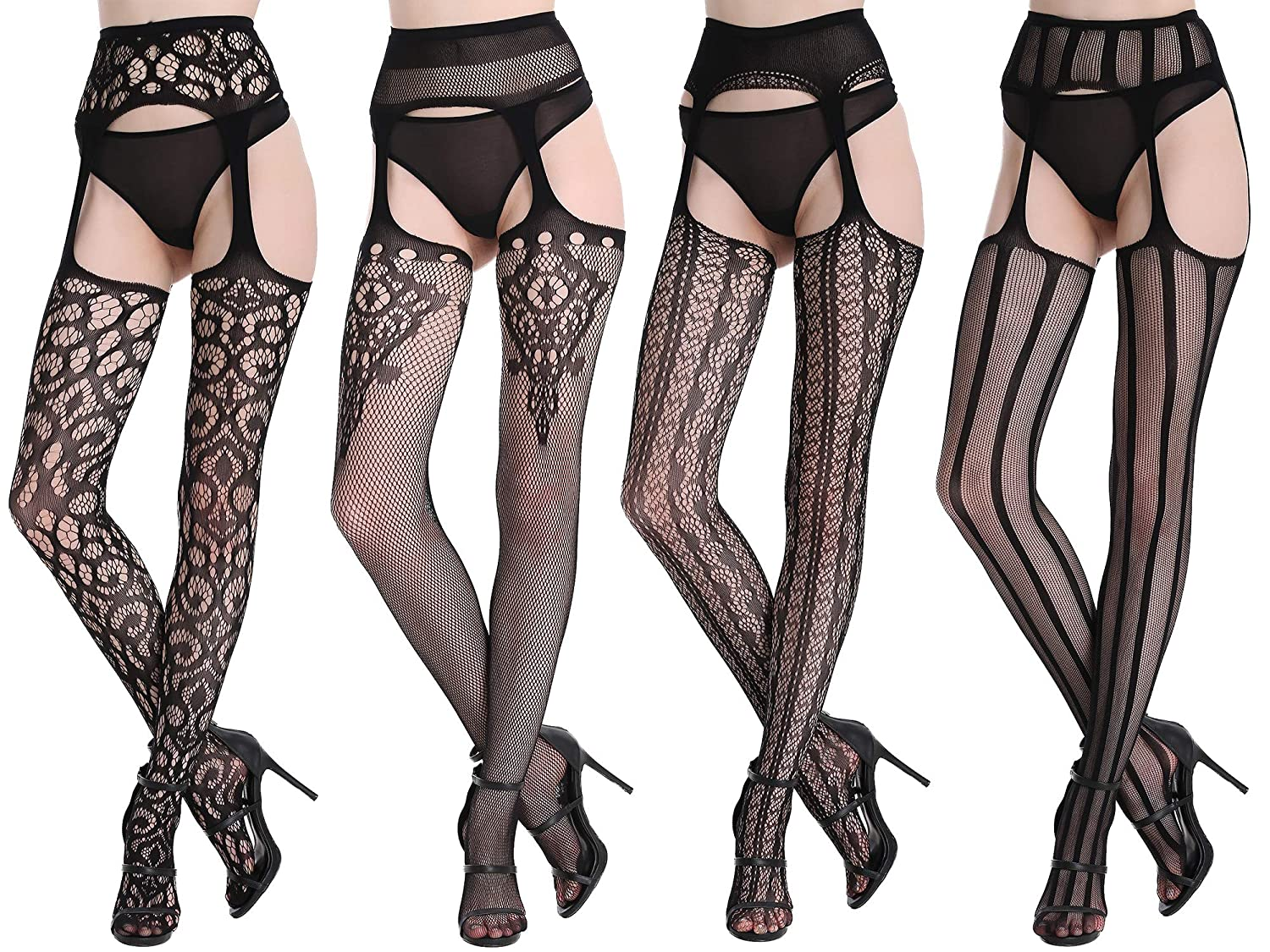 dffcce58edc Amazon.com  CherryDew Womens Sexy Suspender Pantyhose Fishnet Garter  Stockings Patterned Thigh High Tights Black 4 Pack  Clothing