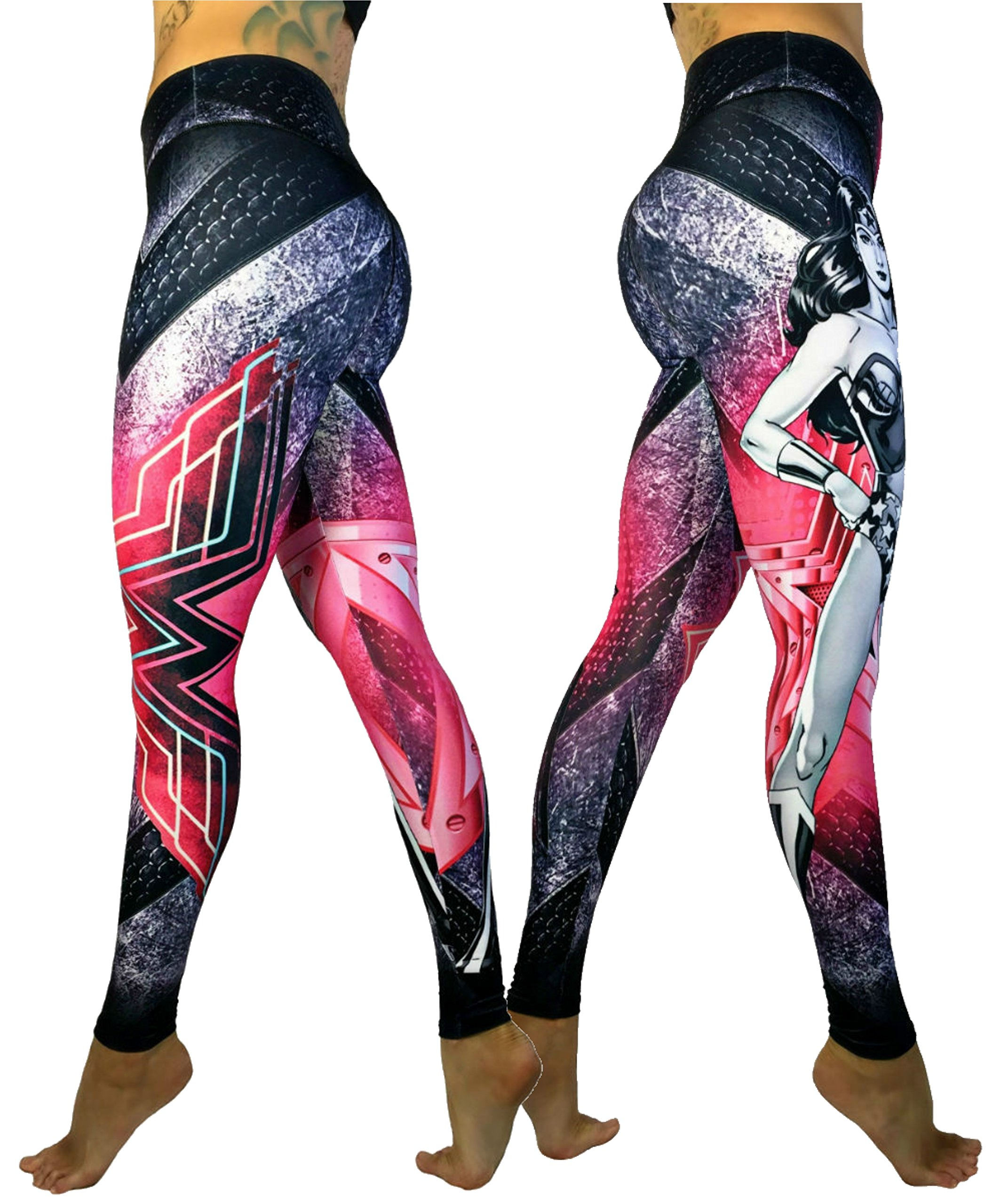 Exit 75 Superhero Many Styles Leggings Yoga Pants Compression Tights (Wonder Woman Pink Sm/Med)