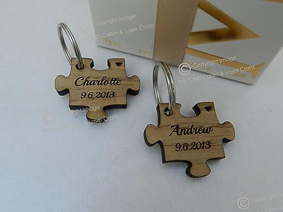 Personalizable de madera Jigsaw Puzzle llavero, Valentines ...
