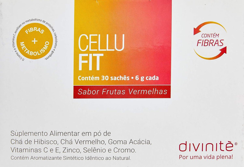 CELLUFIT - Composto de chás Diurético e Antioxidante + Picolinato de Cromo + Fibras - Tratamento Oral para Celulite - Frutas Vermelhas - 30 Sachês - Divinitè Nutricosméticos, Divinitè Nutricosméticos