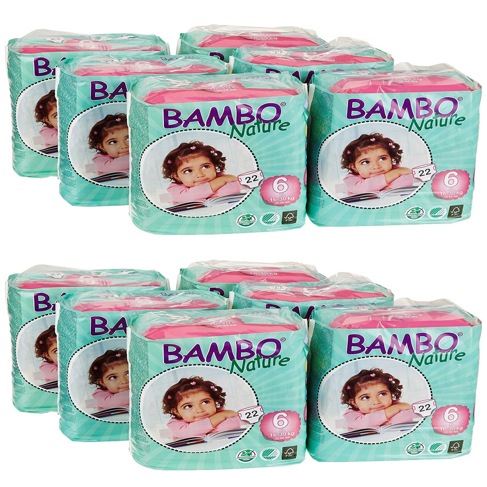 Bambo Nature Baby Diapers Classic, Size 6 (2 Cases of 132), 264 Count