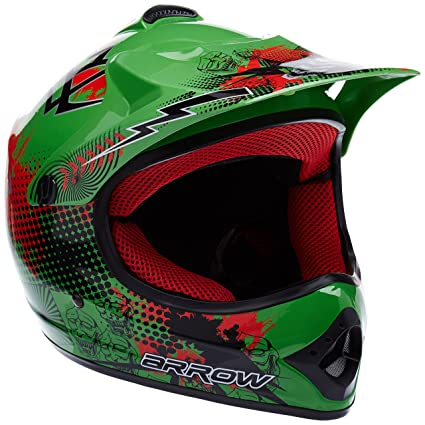 "Armor · AKC-49 ""Green"" (green) · Casco Moto-Cross · Enduro Scooter NINOS Off-Road Quad Racing motocicleta · DOT certificado · Click-n-Secure™ Clip · ..."