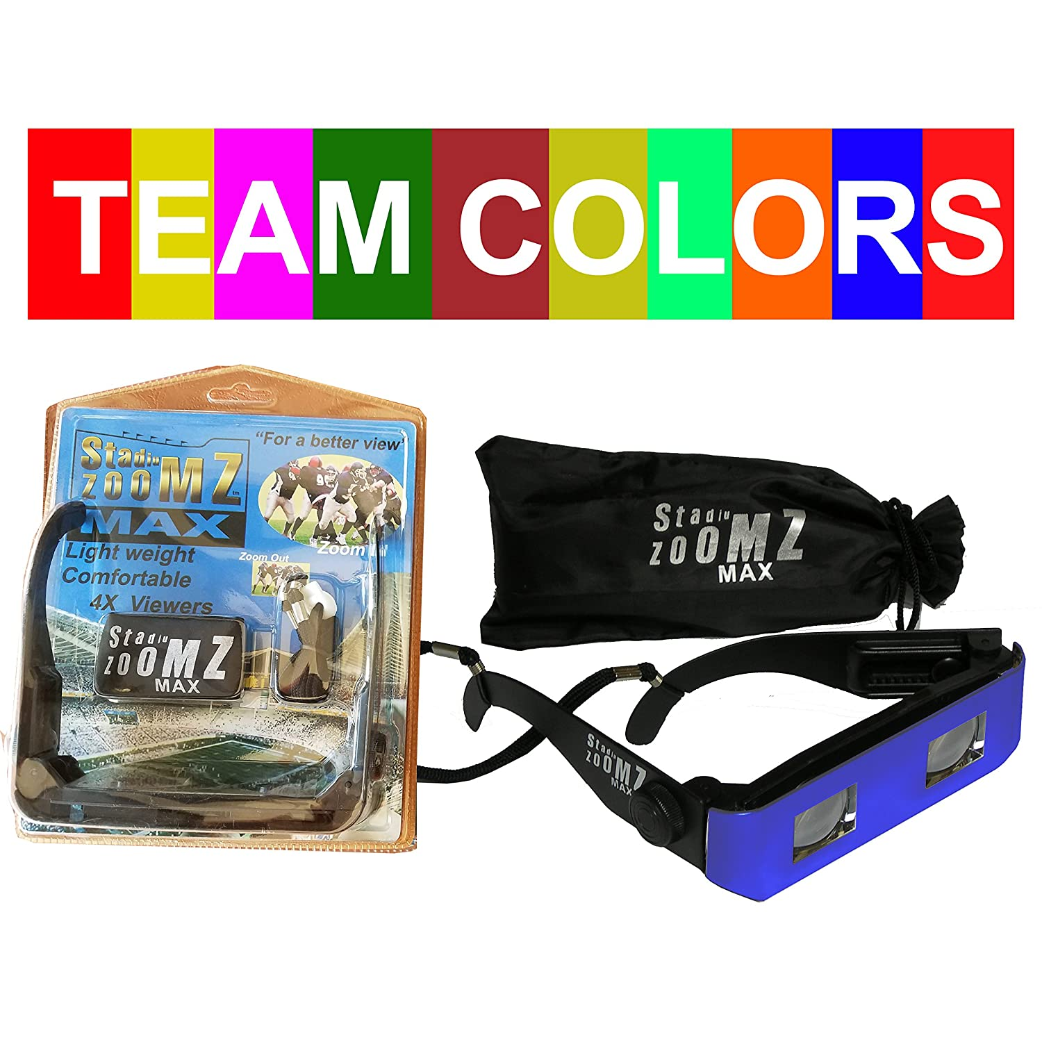 StadiumZoomz Max Team Colors Binocular Glasses Blue. Telescope Lenses Zoom in for Sports Concerts Boating etc