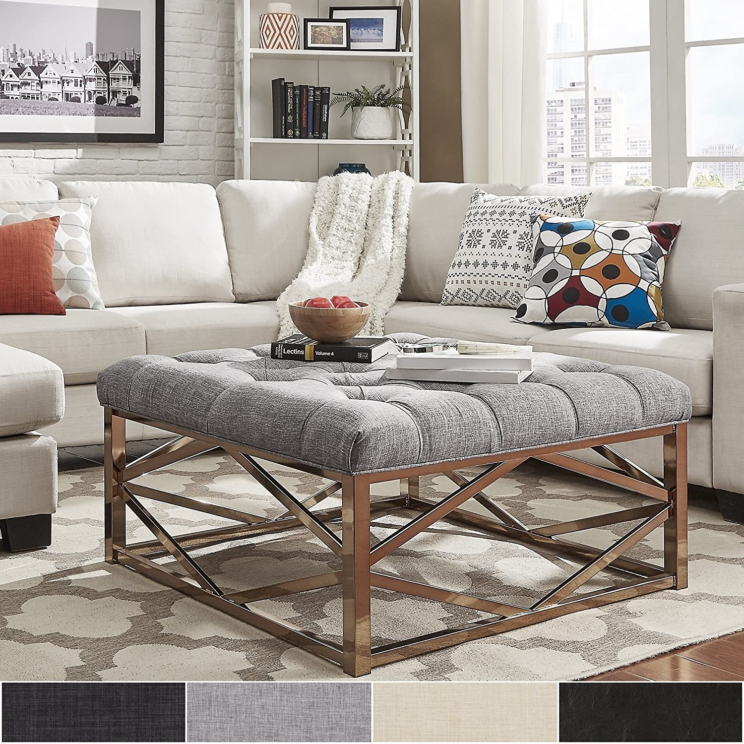 Amazon.com: iNSPIRE Q Solene Geometric Base Square Ottoman Coffee Table -  Champagne Gold by Bold Brown: Kitchen & Dining