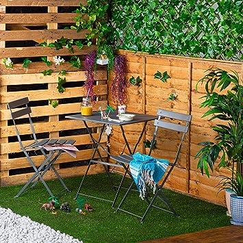 Harbour Housewares 3 Piezas de Sussex Bistro Set - Mesa Plegable y sillas al Aire Libre Patio Muebles de jardín - Ronda - Gris: Amazon.es: Hogar