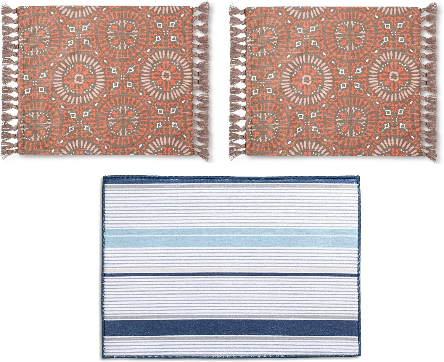Amazon Com Threshold Set Of 2 Native Pattern Placemats With Knotted Fringe And One Dish Mat Home Kitchen