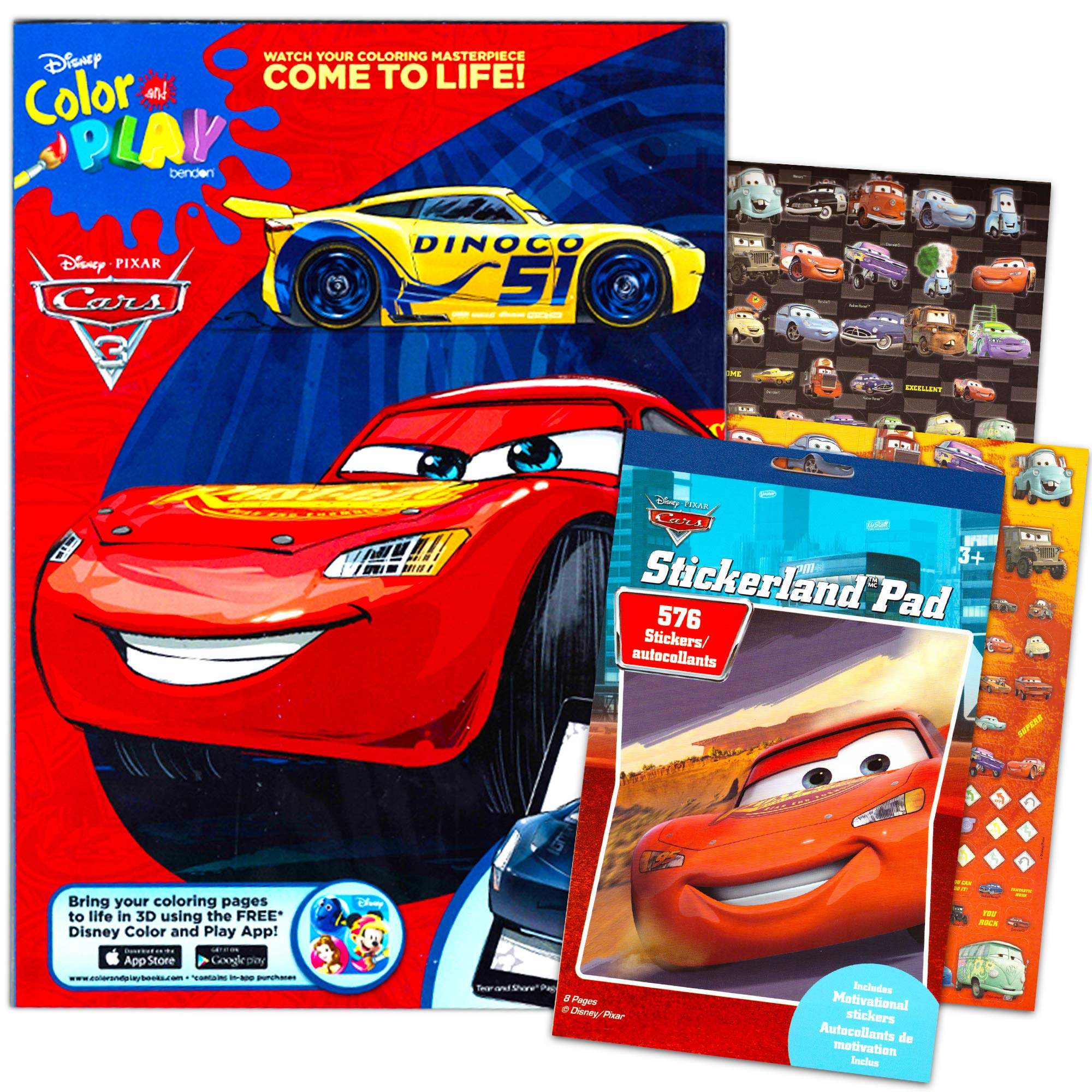 - Disney Cars 3 Coloring Book And Stickers Super Set Bundle ~Disney