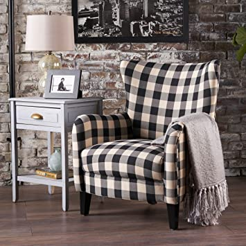 Arador Black U0026 White Plaid Fabric Club Chair