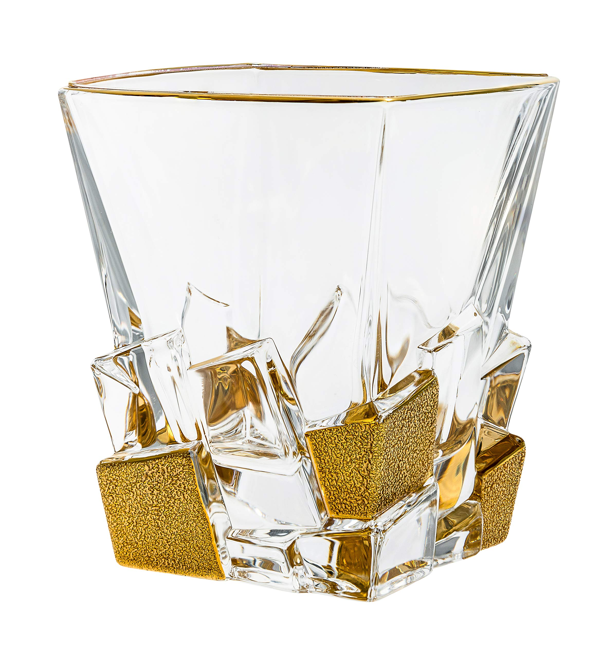 Barski - European Quality Glass - Crystal - Set of 6 - Square Shaped - Double Old Fashioned Tumblers - DOF - Tumbler is 11.7 oz. - with Matte Gold Ice Cubes Design - Glasses are Made in Europe
