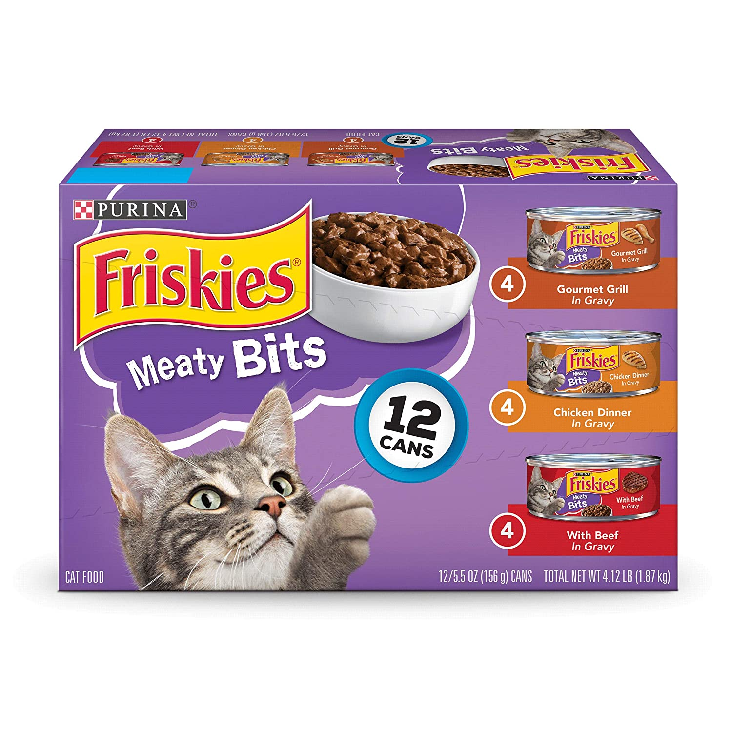 5.5 OZ, Pack of 12 (Pack of 2) Friskies Wet Cat Food, Meaty Bits, 3-Flavor Variety Pack, 5.5-Ounce Can, Pack of 12 (Pack of 2)