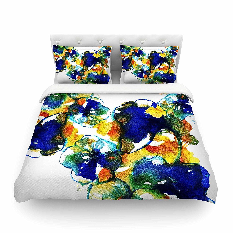 104 x 88 Kess InHouse Sonal Nathwani Blue Orange Floral Abstract Watercolor Cotton King Duvet Cover