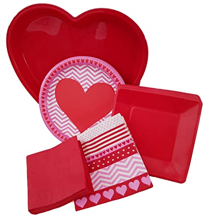 Valentine Day Red and Pink Hearts Zig Zag Party Dinnerware Set - Bundle Pack Includes Heart  sc 1 st  Amazon.com & Amazon.com | Valentine Day Red and Pink Hearts Zig Zag Party ...